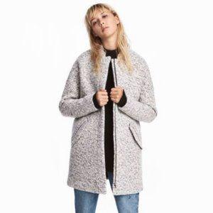 H&M Wool Blend Grey Melange Bouclé Short Coat 12